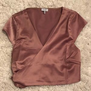 Cropped Surplice Blouse